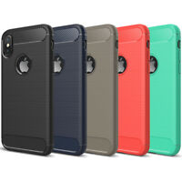 DD Carbon Fibre TPU Rugged Case Silicone Cover For Apple iPhone X 8 7 6s 6 Plus