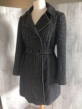 Principles Black Swing Wool Blend Coat, White Flecks, Pockets Uk16 Immaculate