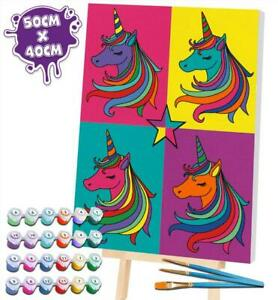 Splat Planet Pop Art Unicorn Paint By Numbers - Extra Large Giant Framed Canvas