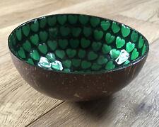 Coconut Shell Decorative Bowl Dish Lime Green Mosaic Enamel Pattern Handmade