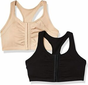 Fruit of the Loom Women's Front Close Racerback Sports Bra 2 Pack Black Nude 38
