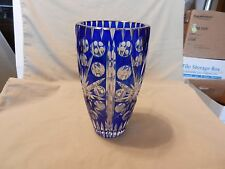 "Bohemian Cobalt Blue Cut to Clear Crystal Vase 8.125"" Tall"