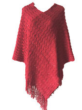 Women Batwing Sequin Poncho Knit Top Cardigan V-NECK Sweater Coat Cape Outwear
