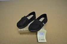 New Toms Tiny Classic Black Glimmer Girls Toddler Flats