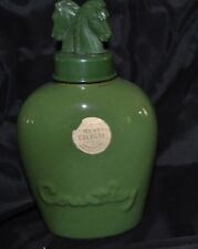 Vtg COURTLEY Men's Cologne Horse Head Green Ceramic Splash Bottle 4 fl oz Empty
