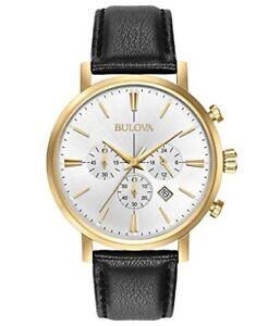 Bulova Corporation Mens Quartz Stainless Steel and Leather Dress Watch 97B155