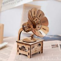 Music Box Wooden Gramophone Retro Vintage Sankyo Musical Play Hand Movement Gift