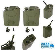 2 Jerry Can 5 Gallon 20L Gas Tank Diesel Fuel Army NATO Military Metal Steel NEW