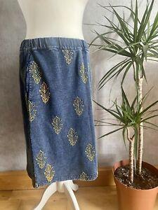 Womens White Stuff Leaf Embroidered Denim Skirt Immaculate Knee Length