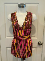 """BCBG Max Azria Multi Color """"Rose"""" Patterned Tank Top, Size Large, NWT! $118"""