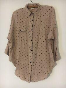 Rare Vintage 80s TopShop Brown Black Dot Spotty Top Shirt Blouse 12 14 M Batwing