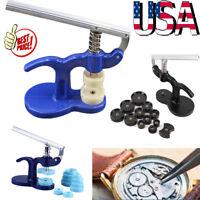 Watchmaker Press Tool Repair Watch Case Kit Set Back Case Closer Glass +12 Dies
