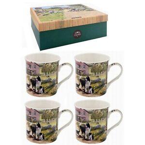 Set of 4 Fine China Macneil Collie & Sheep Dog Farm Scene Mugs Gift Boxed
