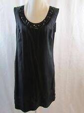 BANANA REPUBLIC Womans Black Beaded Neckline Sleeveless Silk Dress Size Small