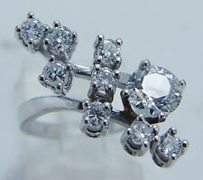 Vintage 14K White Gold Signed CR 1.70ct Diamonds Ring .90ct Euro cut in Center