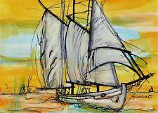 Tableau, peinture, original, France, voilier, bateau