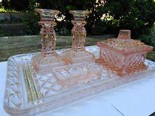 More details for vintage art deco pink peach glass vanity dressing table set candleholders