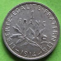 FRANCE 1 FRANC SEMEUSE 1914