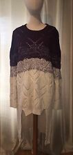 NEW WITH TAGS JODIFL LOS ANGELES MAROON AND CREAM COLORED HIGH LOW TUNIC SWEATER