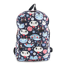 Kitty Cat Face Cotton Backpack,Lined,1 Zippered Outside Pocket,Laptop Sleeve 16""