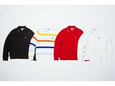 SUPREME x Lacoste Long Sleeve Jersey Polo M Red Black box logo camp cap S/S 17