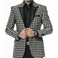 Houndstooth Men's Suit Peak Lapel Business Wedding Formal Dinner Prom Suits
