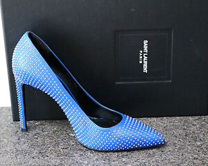 NIB YSL Saint Laurent PARIS 105 Blue Metallic Studded Pointed Toe Pumps Shoe 39
