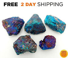5 PEACOCK ORE Rough Chalcopyrite CRYSTAL Raw Mix LOT Blue Stone Gemstone LARGE