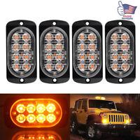 4x Amber Car LED Emergency Strobe Light Bar Marker Flash Warning Lamp DRL Signal