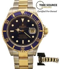 """Rolex Submariner Blue 18K Yellow Gold & Stainless No Holes 16613 """"F"""" 2003 Watch"""