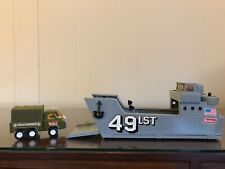 """Vintage Buddy L 14"""" Military 49Lst troop landing craft with tank & truck - Nice!"""
