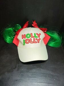 Claire's icing Holly jolly hat green hair pigtails Christmas cap adjustable size
