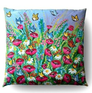 Pillows Decorative Lining With Design Floral Front And Retro For Sofa Zip