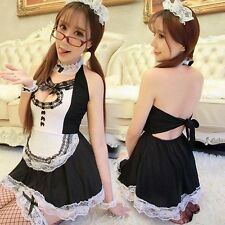 Sexy Cosplay Babydoll Lolita French Maid Fancy Halloween Lace Costume Dress Set@