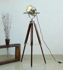 Marine Nautical Spotlight Decorative Floor Hollywood Lamp Wooden Tripod