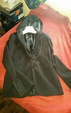 $800.00  Bikkembergs Men's Black Jacket Blazer Coat with Hood Size IT 46 small