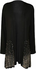 New Ladies Long Sleeve Sequin Glitter Sparkle Women's Open Cardigan Plus Size SD