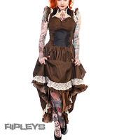 BANNED Victorian Black/Copper STEAMPUNK DRESS Ruffle Adjustable STRIPE All Sizes