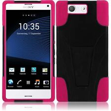 For Sony Xperia Z3 T-Mobile Version T-Stand Hybrid Cover Case - Black+Hot Pink