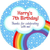 PERSONALISED GLOSS BRIGHT RAINBOW BIRTHDAY PARTY STICKERS SWEET CONE LABELS