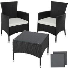 ACCIAIO Poly Rattan Set di mobili da giardino patio in vimini 2x Sedia Tavolo 1x NERO NUOVA