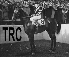 WAR ADMIRAL & CHARLIE KURTSINGER NICE 8X10 WINNERS CIRCLE PHOTO!