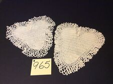 """Two 9"""" X 10"""" Hearts With Ruffles Antique White  Crocheted Vintage Pretty"""