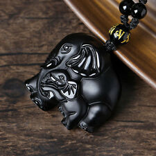 Natural Black Obsidian Hand Carved Cute Elephant Lucky Pendant Beads Necklace