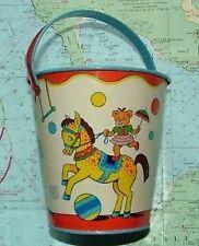 C1950 tin balnéaire Circus sable seau godet chien USA