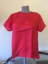 NEW PXS Petite 100% SILK  Red Blouse Short Sleeve Top nwt ladies Jewel Neck