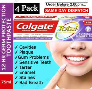 COLGATE TOOTHPASTE TOTAL PRO GUM /ADVANCE GUM HEALTH  75ML X 4 TUBES NEW FORMUL