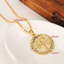 Arabic Muslim 14k Yellow Solid Gold Filled Round Shape Allah Pendants Necklaces