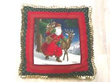 "Old World Decorative Christmas SANTA REINDEER Throw Pillow, 17""x17"" GOLD TRIM"