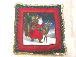"Old World Decorative Christmas SANTA REINDEER Throw Pillow, 17""x17"" GOLD TRIM"